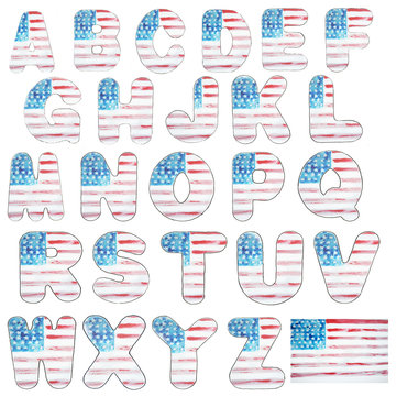 Alphabet letter and figures the American flag watercolor , typography on independence day, USA, Watercolor sketch