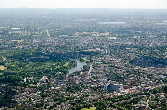 River Thames at Twickenham, aerial view