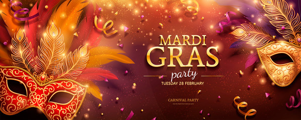 Mardi Gras party banner Wall mural
