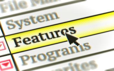 Programs menu in the screen. 3D Illustration.