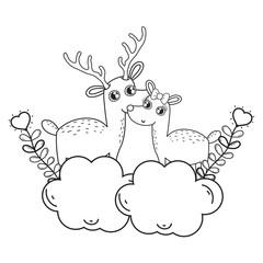 cute love reindeer couple characters