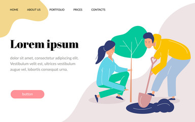 Girl and boy volunteers plant a tree. Landscaping the planet. Vector flat modern illustration. Website template, landing page.