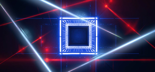 Abstract blue background with neon light, metal construction, neon lights, red laser beams, smoke. Light pyramid, triangle or cube.