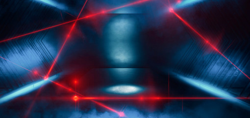 Dark room, a tunnel, a corridor with rays of light and a red laser beam of red color, smoke, smog, dust. Abstract dark blue background with light effect, neon.