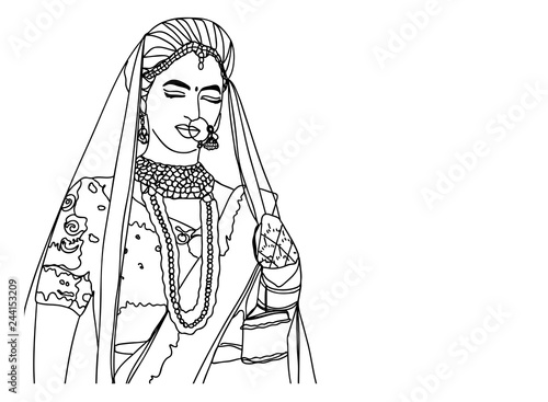 Indian Girl But Beautiful Wedding Dress Happy Bride Painting By