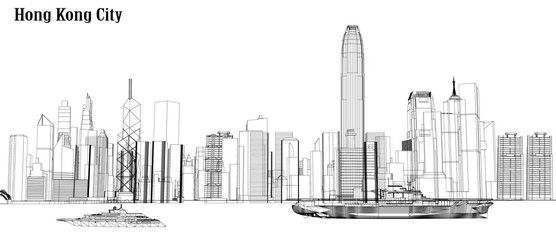 Vector city hong kong