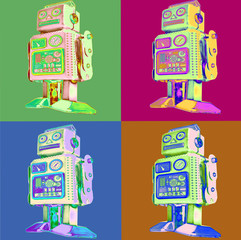 retro robot pop art style