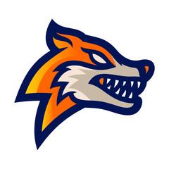 fox esport logo mascot template vector illustration