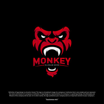 Monkey Gorilla Esport gaming mascot logo template Vector. Modern Head Monkey Logo Vector