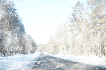 Winter landscape of country fields and roads