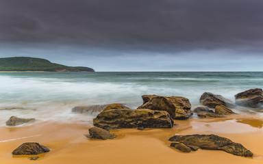 Overcast and Wet Morning Sunrise Seascape