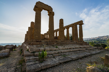 Temple of Juno (Giunone) or the Temple of Hera is doric temple with 6 columns on the short sides and 13 on the long sides, Valle dei Templi, Agrigento, Sicily, Italy