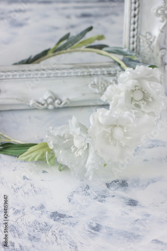 White Wedding Background With Silk Hair Flowers Stock Photo And