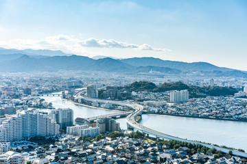 moden city skyline aerial view in Fukuoka Japan Wall mural
