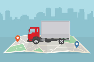 Delivery truck and map on city background. Transport services, logistics and freight of goods concept. Flat style, vector illustration.