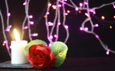 Valentine day decoration with lamp, flower and candle burning photoshoot