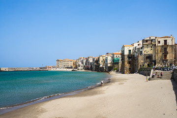 Beautiful sandy beach near Cefalù old town, Palermo province, Sicily, Italy
