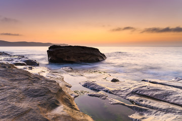 Hazy Soft Light Dawn Seascape