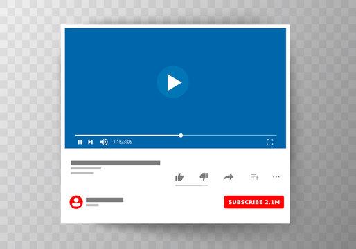 Multimedia player social media. Socisl media. Subscribe. Vector illustration. EPS 10