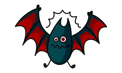 Vector cartoon illustration of cute bat flying.Isolated on white background.