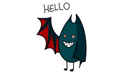 Vector cartoon illustration of cute bat saying hello. Isolated on white background.