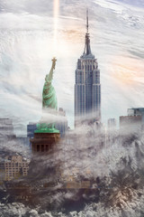 New York cityscape with Empire State Building and Statue of liberty inside the clouds from hurrricane. Conceptual collage. Elements of this image furnished by NASA.