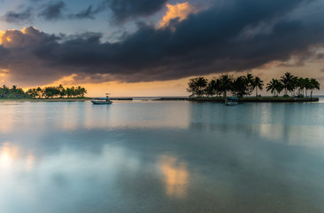 Tropical Sunrise with Island and Palm Trees