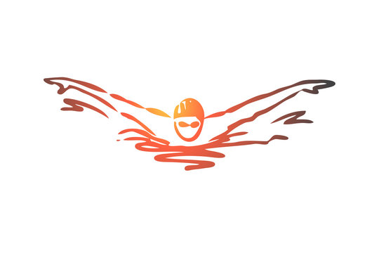 Swimming, butterfly, stroke, athlete, pool concept. Hand drawn isolated vector.