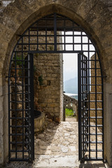 Gate entrance to Caccamo medieval castle, Sicily, Palermo province, Italy