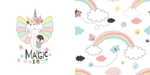 Graphic set with illustration of Fancy cute elephant unicorn with ice cream and summer rainbow seamless pattern. Creative fairy background. Perfect for kids apparel, fabric, textile, nursery