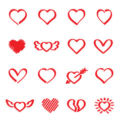 Vector set of hand drawn red heart.