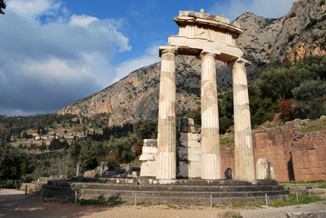 Ruins of the ancient Tholos of Delphi, Greece
