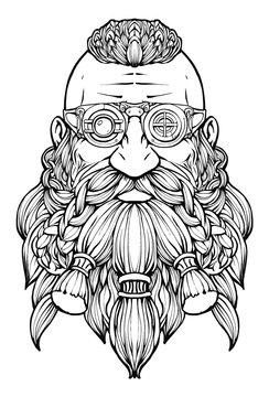 A bearded dwarf in a steampunk glasses