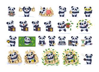 Set kit collection Emoji character cartoon panda
