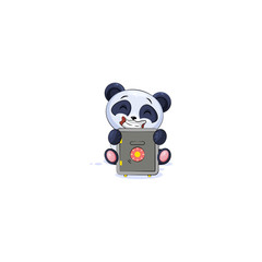 panda sticker emoticon hug safe with money