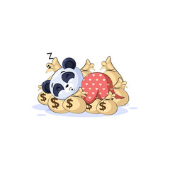 panda sticker emoticon sleep on bags money