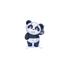 panda sticker emoticon with smart phone