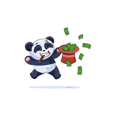 panda jumping for joy with hat money