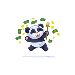 panda sticker emoticon jump for joy money