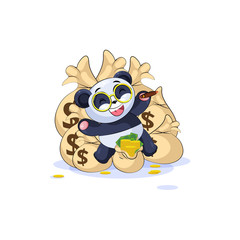 panda lies happy on bags of money