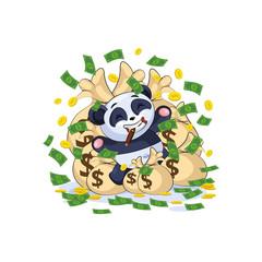 panda sticker emoticon lies happy