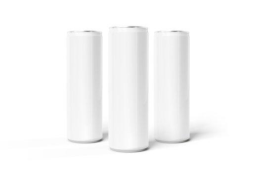 Blank slim soda can mockup on white background 3D rendering