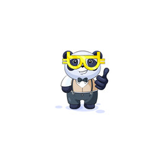 panda in business suit glasses cryptocurrency