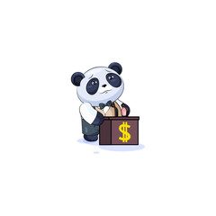 panda in business suit orator behind podium