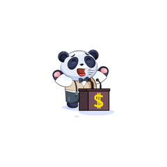 panda in business suit behind podium