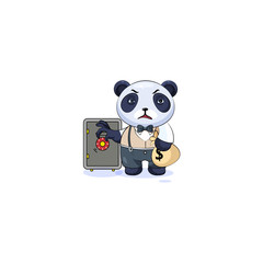 panda in business suit open safe to hide money