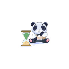panda in business suit sits at hourglass