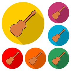 Acoustic guitar icon or logo, Guitar silhouette, color set with long shadow
