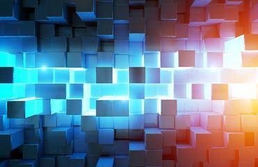 Glowing black blue and orange squares background pattern 3D rendering
