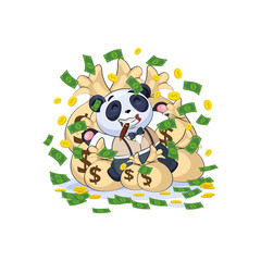 panda in business suit lies on bags money